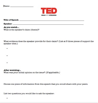 TED Talk Worksheet