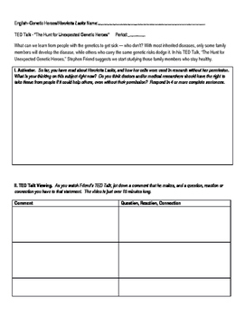 "TED Talk Worksheet:""Hunt for Unexpected Genetic Heroes"" (Friend)/Henrietta Lacks"