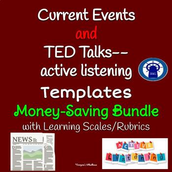 TED Talks/Guest Speakers Active Listening and Current Events Templates Bundle