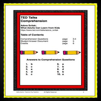 TED Talks Comprehension  (Adora Svitak: What Kids Can Learn From Adults)