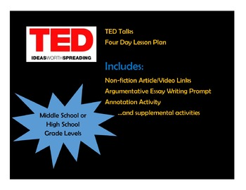 TED Talks Non-fiction Four Day Lesson Plan