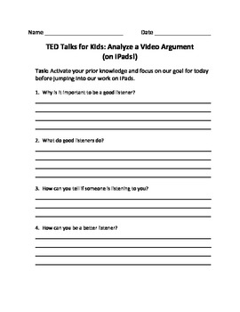TED Talks for Kids: Analyze a Video Argument (on iPads!)