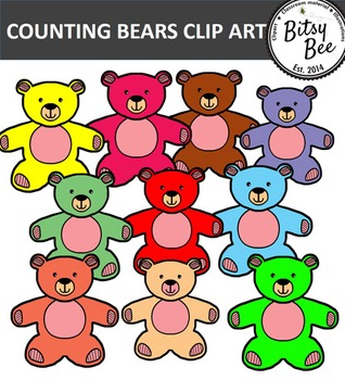 TEDDY BEAR COUNTERS  CLIP ART  FREEBIE