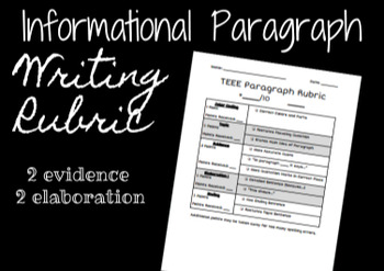TEEE Paragraph Rubric- 2 Evidence and 2 Elaboration
