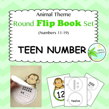 TEEN NUMBERS. Entire set of animal themed flip books (numbers 11-19)
