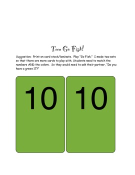TEEN PRACTICE! Number Practice for 10- 20 - Matching and Go Fish!
