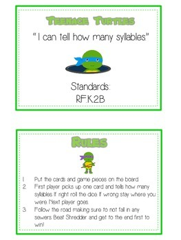 TEENAGE TURLES Syllables - ELA First Grade Folder Game - Word Work Center