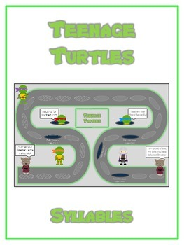 TEENAGE TURLES Syllables - ELA First Grade Folder Game - W