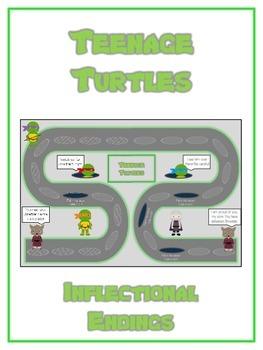 TEENAGE TURTLES Inflectional Word Endings - ELA First Grade Game - Word Work