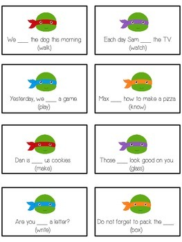 TEENAGE TURTLES Inflectional Word Endings - ELA First Grade Game - Word Work