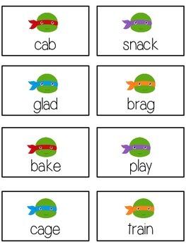 TEENAGE TURTLES Vowels- ELA First Grade Folder Game - Word Work Center