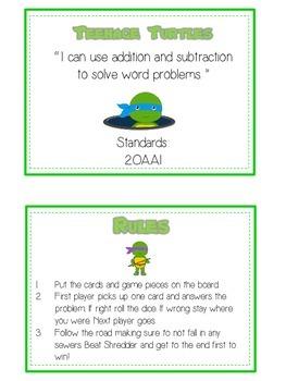 TEENAGE TURTLES - Word Problems Adding & Subtracting - Math Folder Game