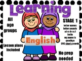 Learning English Stage 1 TEFL/ EFL 93 pages - Letter names, sounds a - f, CVC a.