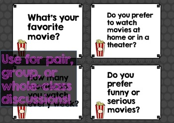 TEFL / ESL Conversation: At the Movies Discussion Questions and Activities