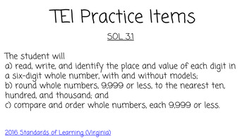 TEI Practice Place Value Comparing Ordering VA SOL 3.1 Google Slides test prep