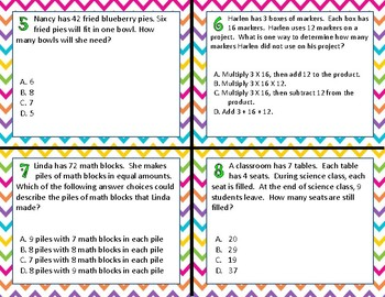 TEK 3.4K Multiplication & Division 1 & 2 Step Problems Task Cards