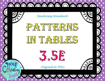 TEK 3.5E Patterns in Tables Task Cards
