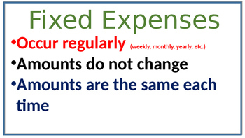 TEK 4.10A Fixed and Variable Expenses Entire Lesson word problems exit ticket