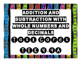 TEK 4.4A Addition and Subtraction of Whole Numbers and Dec