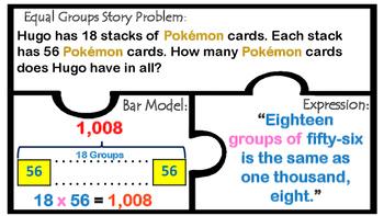 TEK 4.4D Multiplication 2 & 3 digit factors  Word Problems Bar Models 4.C 4.4H
