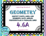 TEK 4.6A Geometry - Identify Points, Lines, Angles task cards