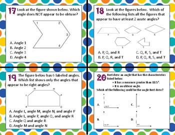 TEK 4.6C Identify Angles - Right, Acute, Obtuse task cards
