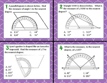 TEK 4.7C Measuring Angles with a Protractor task cards