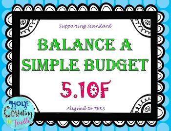 TEK 5.10F Balancing a Simple Budget task cards