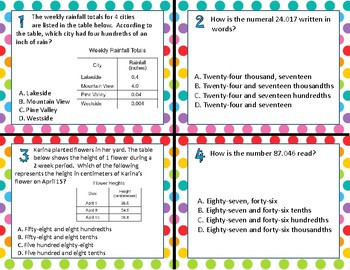 TEK 5.2A Decimals in Expanded Form & Numerals task cards