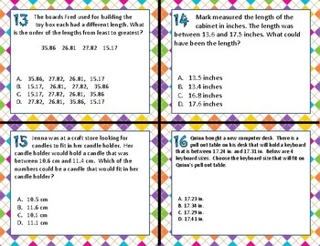 TEK 5.2B Compare & Order Decimals task cards