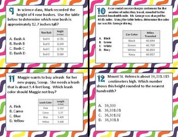 TEK 5.2C Rounding Decimals task cards