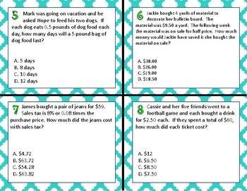 TEK 5.3E Multiplying Decimals task cards