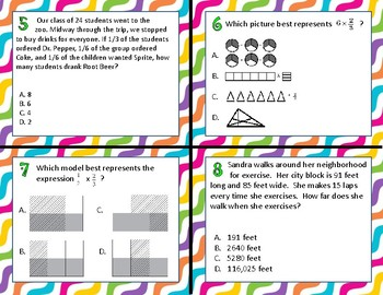TEK 5.3I Multiplying Fractions & Whole Numbers task cards