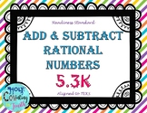 TEK 5.3K Add & Subtract Rational Numbers task cards
