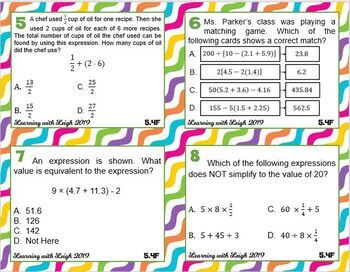 Math TEK 5.4F Order of Operations (Simplifying Numerical Expressions) Task Cards