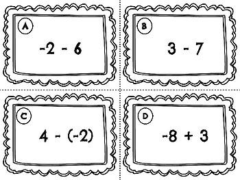 Adding and Subtracting Integer Task Cards - QR Task Cards Included TEK 6.3D