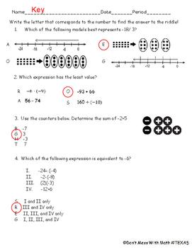 TEK 6.3d - Mixed Integer Review - Math Riddle