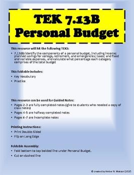 TEK 7.13B Personal Budget