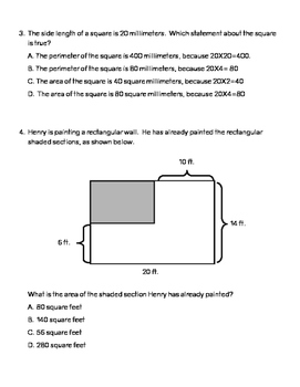 TEK Assessment 4.5D - Perimeter and Area Problems