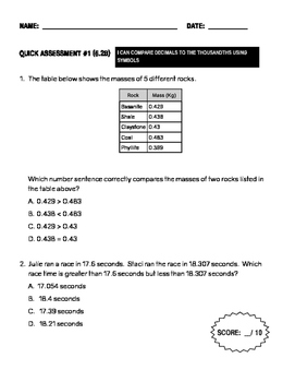 TEK Assessment 5.2B - Compare and Order Decimals to the Thousandths