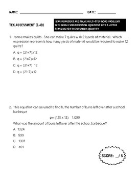 TEK Assessment 5.4B  - Represent and Solve Multi-Step Word Problems