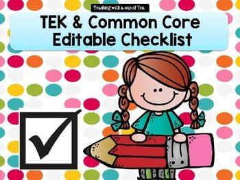 TEK & Common Core Editable Checklist (all grades)