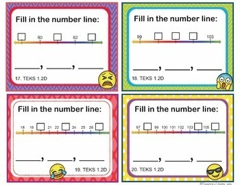 TEKS 1.2 A-G Task Cards BUNDLE Numbers and Operations