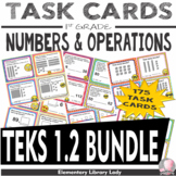 Math TEKS 1.2 A-G BUNDLE Texas 1st Grade Task Cards 175 Cards Numbers Operations