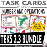 Math TEKS BUNDLE 2.3 A-D Texas 2nd Grade Task Cards - 100 Task Cards Fractions