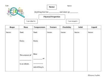 Science TEKS 2.5A Physical Properties Student Organizer