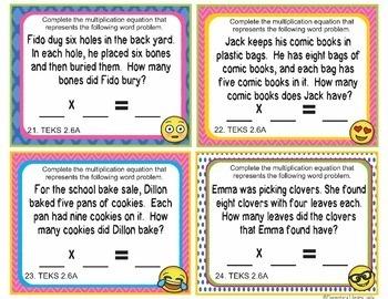 TEKS 2.6A Texas-EMOJI 2nd Grade Math Task Cards Multiplication