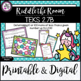 TEKS 2.7B / 10 or 100 More or Less / Riddle the Room / Pri