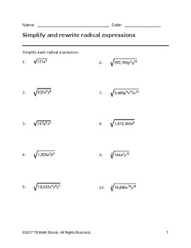 TEKS 2A.7G Rewriting radical expressions