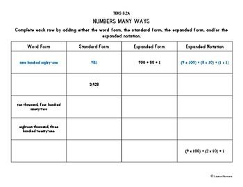 TEKS 3.2A Numbers Many Ways